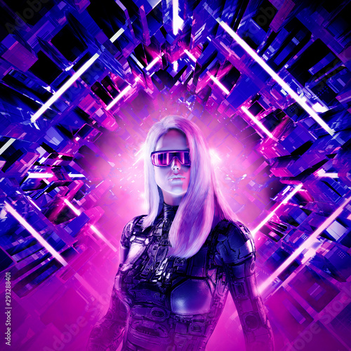 Photo Cyberpunk female heroine / 3D illustration of beautiful blond woman with sunglas