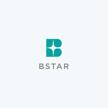 Letter B Star Logo Design Icon Vector