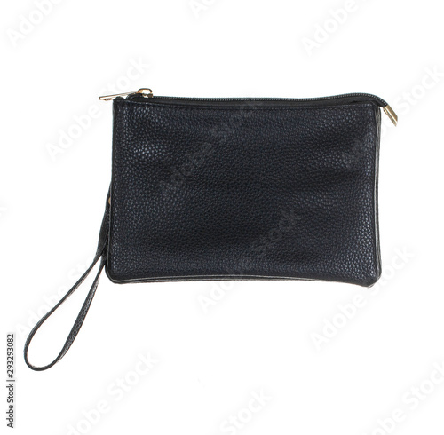 Canvas-taulu wristlet purse, black leather color, Make up handbag wallet, close up and isolat