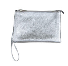 Wristlet Purse, Metallic Silver Leather Color, Make Up Handbag Wallet, Close Up And Isolated On White Background