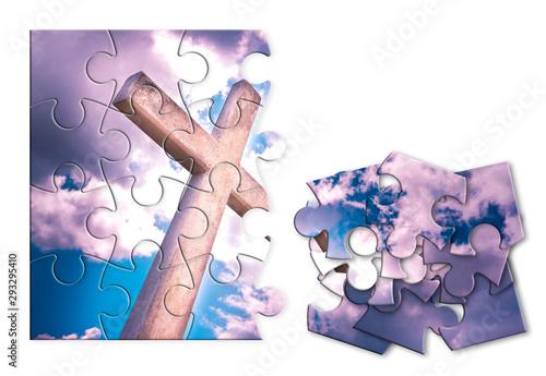 Vászonkép Rebuild our faith or losing faith - Christian cross against a cloudy sky - conce