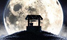 Wishing Well And Moon Silhouette