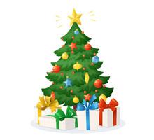 Cartoon Christmas Tree With Pr...