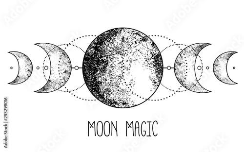 Obraz Triple moon pagan Wicca moon goddess symbol. Three-faced Goddess: Maiden – Mother – Crone vector illustration.  Tattoo, astrology, alchemy, boho and magic symbol. - fototapety do salonu