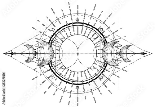 Canvastavla Triple moon pagan Wicca moon goddess symbol