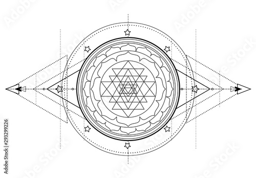 Leinwand Poster  The Sri Yantra or Sri Chakra, form of mystical diagram, Shri Vidya school of Hindu tantra symbol