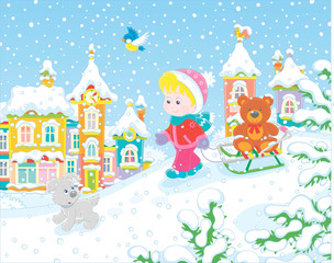 Little girl walking with her sledge and a toy bear on a snow-covered playground in a winter park of a small town, vector illustration in a cartoon style