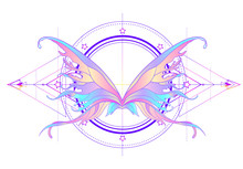 Rainbow Colors Butterfly Over Sacred Geometry Sign, Isolated Vector Illustration. Tattoo Sketch. Mystical Symbols And Insects. Alchemy, Occultism, Spirituality.