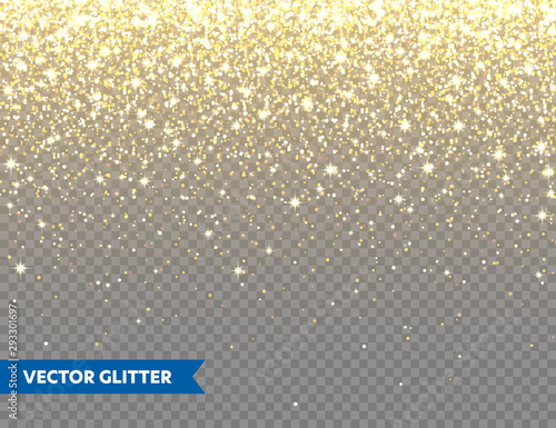 Sparkling Golden Glitter on Transparent Vector Background Canvas Print