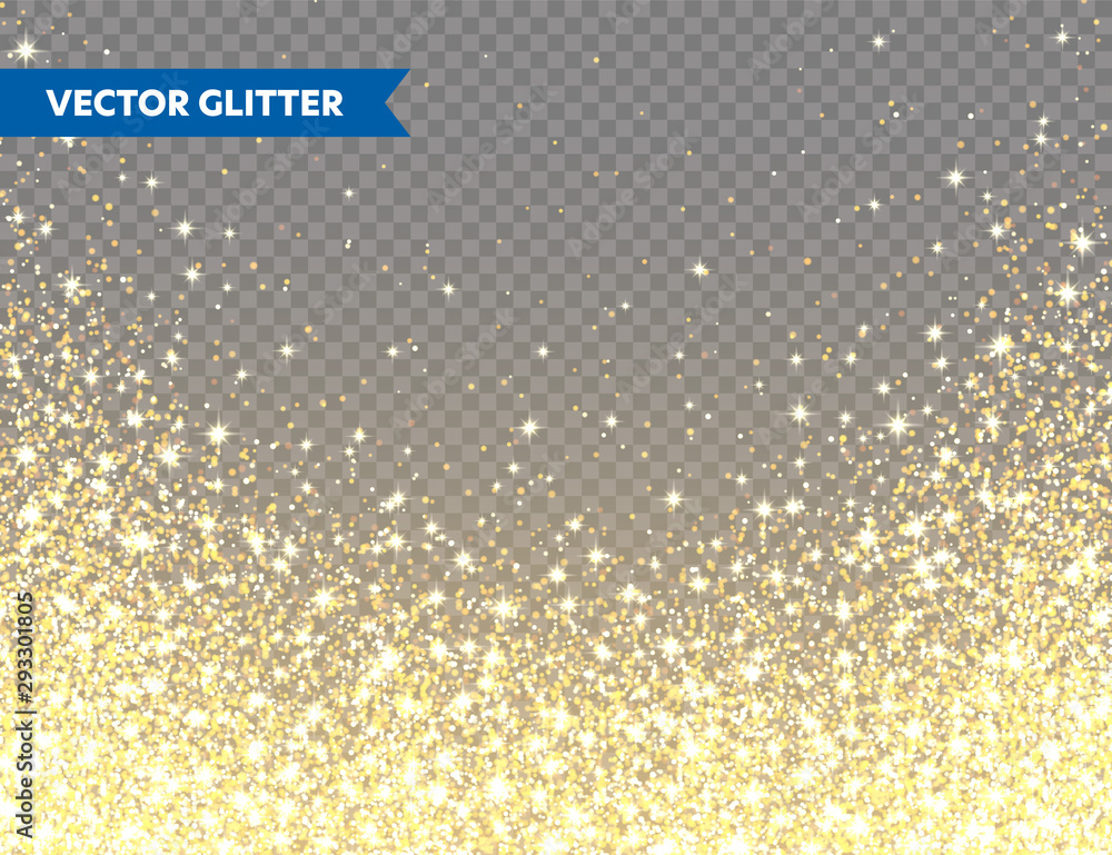 Fototapeta Sparkling Golden Glitter on Transparent Vector Background. Falling Shiny Confetti with Gold Shards. Shining Light Effect for Christmas or New Year Greeting Card.