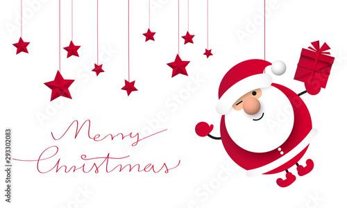 Fotografia, Obraz Święty Mikołaj. Bożonarodzeniowa kartka z życzeniami wektor