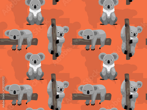 Photo Cute Koala Tree Cartoon Seamless Background Wallpaper