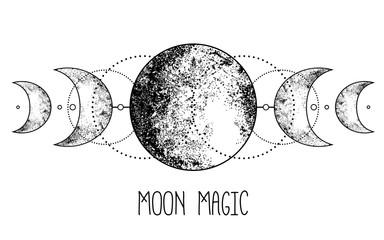 Triple moon pagan Wicca moon goddess symbol. Three-faced Goddess: Maiden – Mother – Crone vector illustration.  Tattoo, astrology, alchemy, boho and magic symbol.