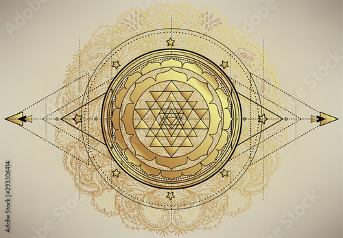 Fotografering The Sri Yantra or Sri Chakra, form of mystical diagram, Shri Vidya school of Hindu tantra symbol