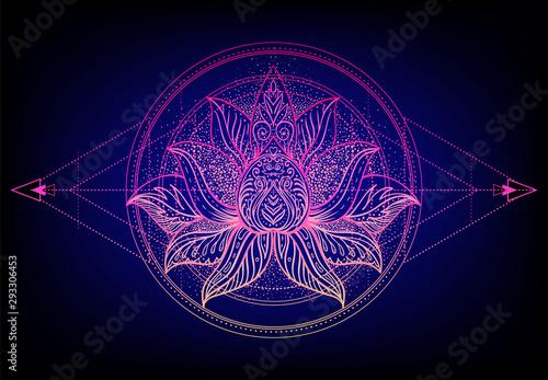 Foto auf AluDibond Boho-Stil Vector ornamental Lotus flower, ethnic art, patterned Indian paisley. Hand drawn illustration. Invitation element. Tattoo, astrology, alchemy, boho and magic symbol.