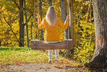 Young Blonde Woman In Yellow Jacket Swinging On Wooden Swing In Golden Forest. Sunny, Warm Autumn Day. Back View.