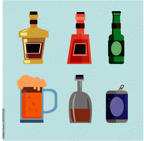 Photo  beer bottle collection set icon