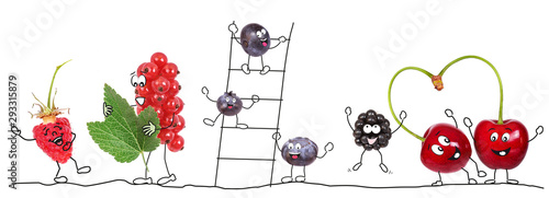Beeren Bio-Obst als Comic Wallpaper Mural