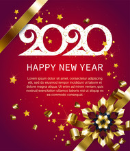 2020, Happy New Year, Gold. Greeting Card With Text 2020 With Christmas Ball. Background, Banner, Poster. Vector Illustration Of Happy New Year 2020 And Gold Elements