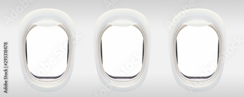 Blank windows of airplane from inside, aerial travel concept Wallpaper Mural