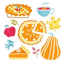 Thanksgiving Pumpkin Pie Plate, Piece. Pumpkin Cake Slice Vector Food