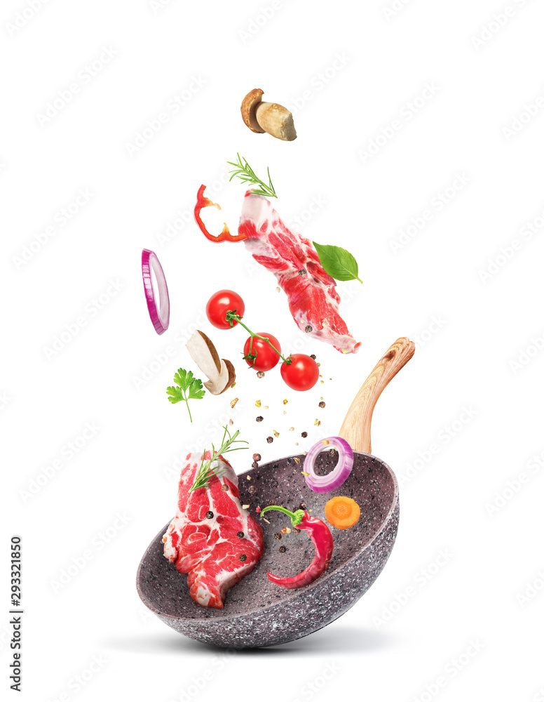 Fototapety, obrazy: Cooking concept. Vegetables and meat are falling on a pan isolated on white background. Healthy food.