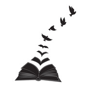Open Book Illustration With Flying Birds Silhouettes, Vector, Poster Design Isolated On White Background, Graphic Design, Wall Decals, Wall Artwork