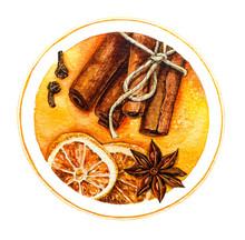 Cinnamon And Lemon. Watercolor Illustration.