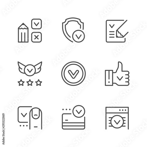Photo Set line icons of approval