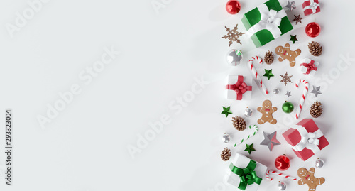Fotografia, Obraz Christmas white background with christmas balls and decoration - 3d rendering
