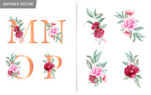 Floral Alphabet Set With Watercolor Flowers Elements. Letters M, N, O, P With Botanical Arrangements Composition. Flower Bouquet Illustration For Wedding Invitation Decoration Design Vector
