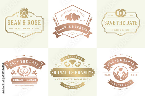 Wedding invitations save the date logos and badges vector elegant elements set Wallpaper Mural