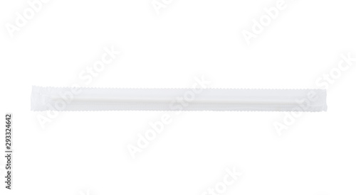 White drinking straw isolated on white Wallpaper Mural