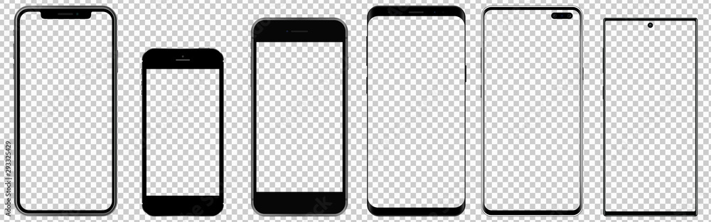 Fototapeta Realistic phones with transparent screens. Smartphone mockup. Vector graphic