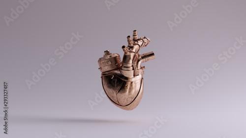 Bronze Artificial Cyborg Heart Anatomical Front View 3d illustration 3d render Canvas Print