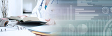 Female Doctor Reading A Medical Book; Panoramic Banner