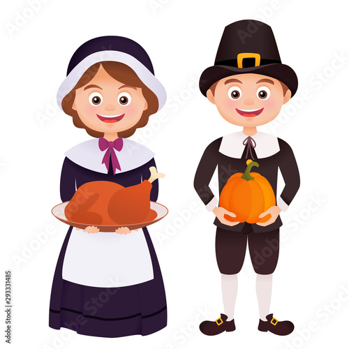 Photo Thanksgiving character in pilgrims costume holding turkey and pumpkin isolated o