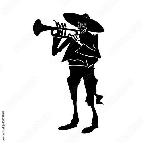 El mariachi skeleton musician Wallpaper Mural