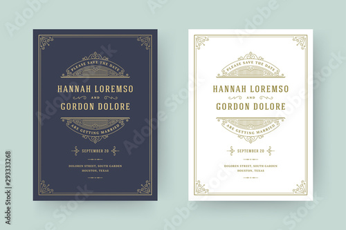 Fotomural  Wedding invitation save the date card flourishes ornaments.
