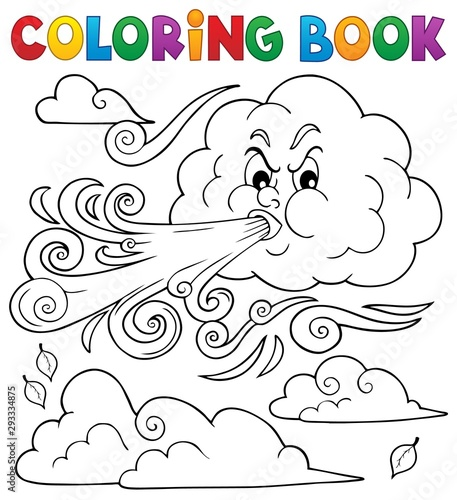 Foto op Canvas Voor kinderen Coloring book clouds and wind theme 1