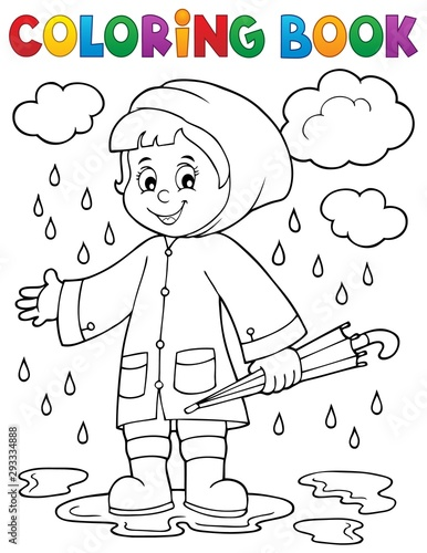 Foto op Canvas Voor kinderen Coloring book girl in rainy weather 1