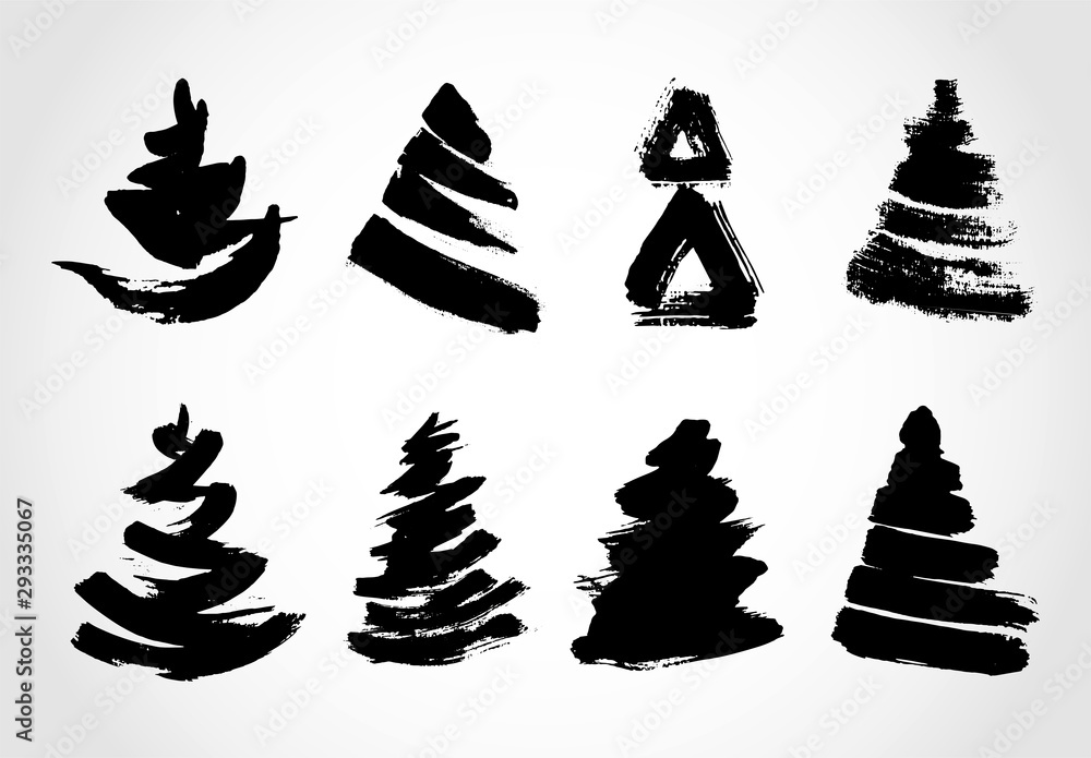 Hand drawn  grunge Christmas trees. Ink painting