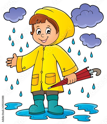 Foto op Canvas Voor kinderen Girl in rainy weather theme image 1