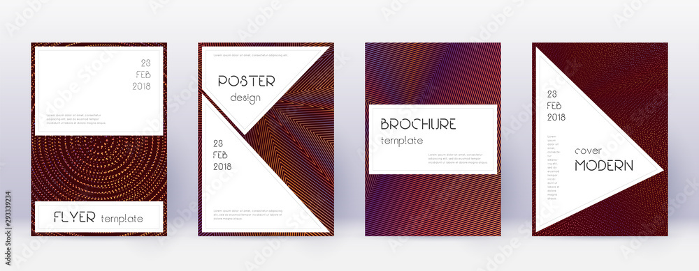 Fototapety, obrazy: Stylish brochure design template set. Orange abstr