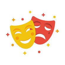 Comedy And Tragedy Masks. Yell...