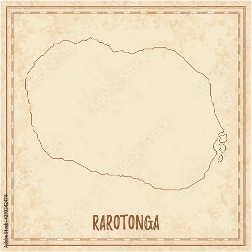 Vászonkép Pirate map of Rarotonga