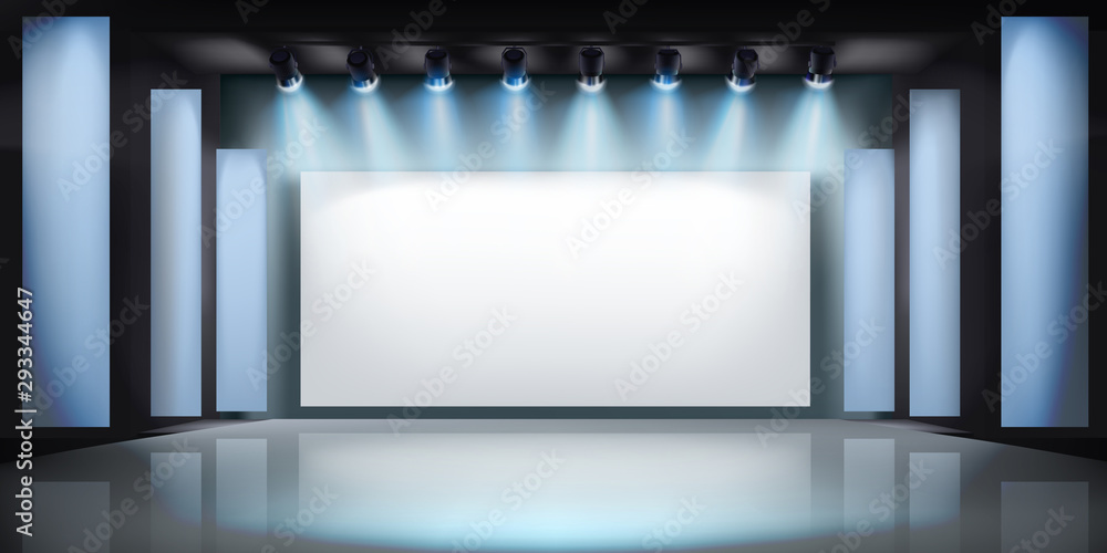 Fototapeta Exibition in art gallery. Projection screen on stage. Free space for advertising. Vector illustration.