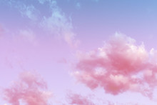 Pastel Color Pink Clouds And Sky At Sunset. Beautiful Pink Sunset Sky Background For Concept Design