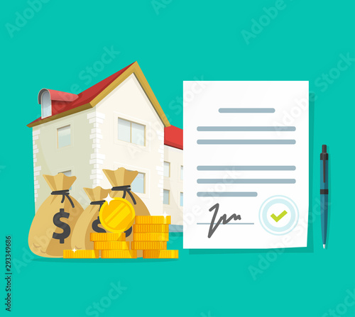 Fotomural Real estate contract or property mortgage loan signed agreement vector illustrat