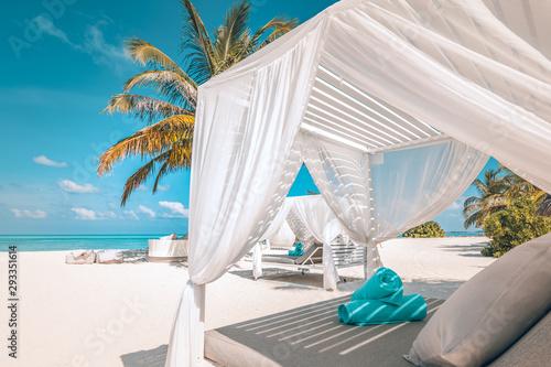 Obraz na plátně Serenity beach background, luxury beach canopy and travel or summer vacation concept